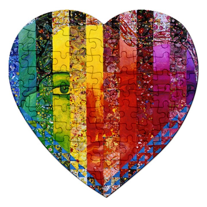Conundrum I, Abstract Rainbow Woman Goddess  Jigsaw Puzzle (Heart)