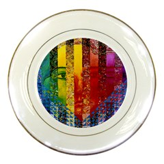 Conundrum I, Abstract Rainbow Woman Goddess  Porcelain Display Plate