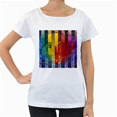 Conundrum I, Abstract Rainbow Woman Goddess  Women s Loose-Fit T-Shirt (White)