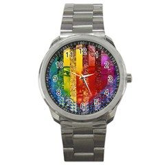 Conundrum I, Abstract Rainbow Woman Goddess  Sport Metal Watch