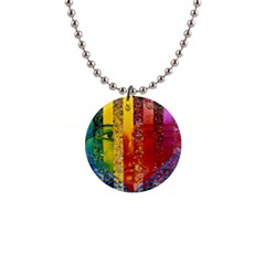 Conundrum I, Abstract Rainbow Woman Goddess  Button Necklace