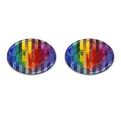 Conundrum I, Abstract Rainbow Woman Goddess  Cufflinks (Oval)
