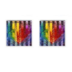 Conundrum I, Abstract Rainbow Woman Goddess  Cufflinks (Square)