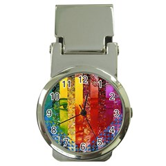 Conundrum I, Abstract Rainbow Woman Goddess  Money Clip with Watch