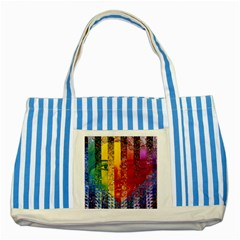 Conundrum I, Abstract Rainbow Woman Goddess  Blue Striped Tote Bag