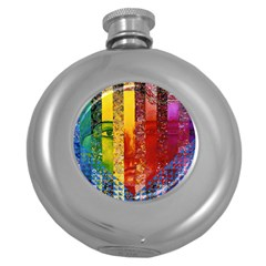 Conundrum I, Abstract Rainbow Woman Goddess  Hip Flask (Round)