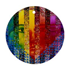 Conundrum I, Abstract Rainbow Woman Goddess  Round Ornament (Two Sides)