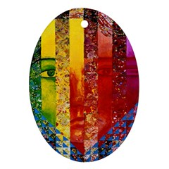 Conundrum I, Abstract Rainbow Woman Goddess  Oval Ornament (Two Sides)