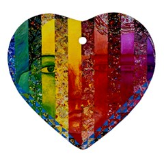 Conundrum I, Abstract Rainbow Woman Goddess  Heart Ornament (Two Sides)