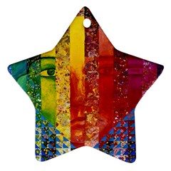 Conundrum I, Abstract Rainbow Woman Goddess  Star Ornament (two Sides)