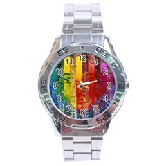 Conundrum I, Abstract Rainbow Woman Goddess  Stainless Steel Watch