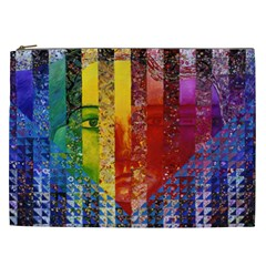 Conundrum I, Abstract Rainbow Woman Goddess  Cosmetic Bag (XXL)