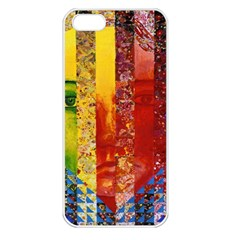Conundrum I, Abstract Rainbow Woman Goddess  Apple Iphone 5 Seamless Case (white)