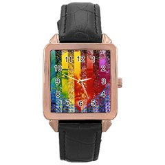 Conundrum I, Abstract Rainbow Woman Goddess  Rose Gold Leather Watch