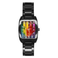 Conundrum I, Abstract Rainbow Woman Goddess  Stainless Steel Barrel Watch