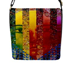 Conundrum I, Abstract Rainbow Woman Goddess  Flap Closure Messenger Bag (Large)