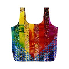 Conundrum I, Abstract Rainbow Woman Goddess  Reusable Bag (M)
