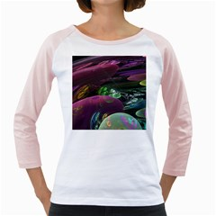 Creation Of The Rainbow Galaxy, Abstract Women s Long Cap Sleeve T Shirt (white)