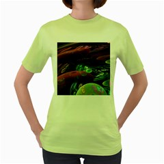 Creation Of The Rainbow Galaxy, Abstract Women s T Shirt (green)