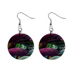 Creation Of The Rainbow Galaxy, Abstract Mini Button Earrings