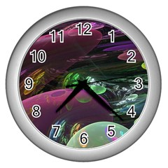 Creation Of The Rainbow Galaxy, Abstract Wall Clock (Silver)