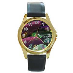 Creation Of The Rainbow Galaxy, Abstract Round Leather Watch (Gold Rim)