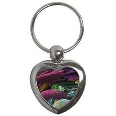 Creation Of The Rainbow Galaxy, Abstract Key Chain (Heart)