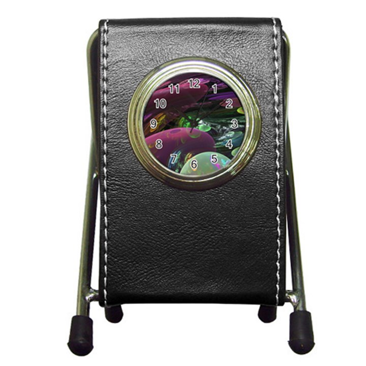 Creation Of The Rainbow Galaxy, Abstract Stationery Holder Clock