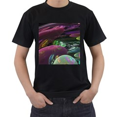 Creation Of The Rainbow Galaxy, Abstract Men s Two Sided T-shirt (Black)