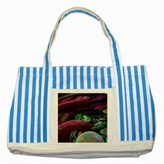 Creation Of The Rainbow Galaxy, Abstract Blue Striped Tote Bag