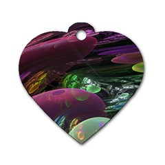 Creation Of The Rainbow Galaxy, Abstract Dog Tag Heart (Two Sided)