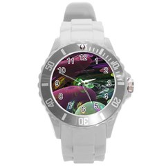 Creation Of The Rainbow Galaxy, Abstract Plastic Sport Watch (large)