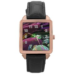 Creation Of The Rainbow Galaxy, Abstract Rose Gold Leather Watch