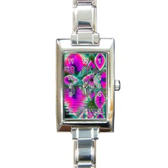 Crystal Flower Garden, Abstract Teal Violet Rectangular Italian Charm Watch