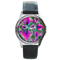 Crystal Flower Garden, Abstract Teal Violet Round Leather Watch (Silver Rim)