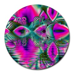 Crystal Flower Garden, Abstract Teal Violet 8  Mouse Pad (round)