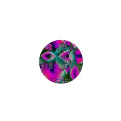 Crystal Flower Garden, Abstract Teal Violet 1  Mini Button Magnet