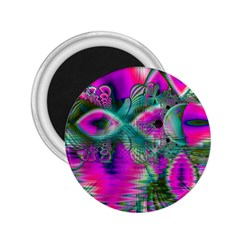Crystal Flower Garden, Abstract Teal Violet 2.25  Button Magnet