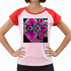Crystal Flower Garden, Abstract Teal Violet Women s Cap Sleeve T-Shirt (Colored)