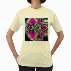 Crystal Flower Garden, Abstract Teal Violet Women s T-shirt (Yellow)