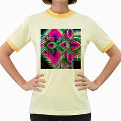 Crystal Flower Garden, Abstract Teal Violet Women s Ringer T-shirt (Colored)