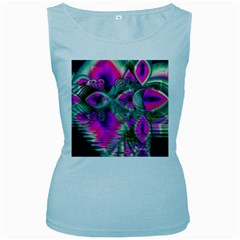 Crystal Flower Garden, Abstract Teal Violet Women s Tank Top (Baby Blue)
