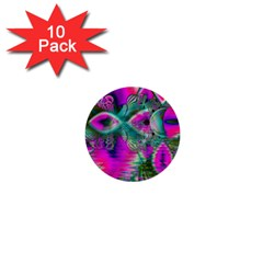 Crystal Flower Garden, Abstract Teal Violet 1  Mini Button (10 pack)