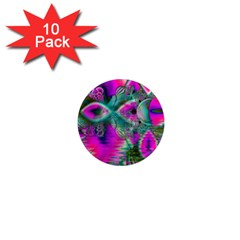 Crystal Flower Garden, Abstract Teal Violet 1  Mini Button Magnet (10 pack)