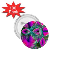 Crystal Flower Garden, Abstract Teal Violet 1.75  Button (100 pack)