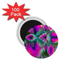Crystal Flower Garden, Abstract Teal Violet 1.75  Button Magnet (100 pack)