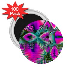 Crystal Flower Garden, Abstract Teal Violet 2.25  Button Magnet (100 pack)