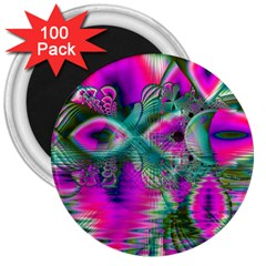 Crystal Flower Garden, Abstract Teal Violet 3  Button Magnet (100 pack)