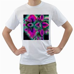Crystal Flower Garden, Abstract Teal Violet Men s Two-sided T-shirt (White)
