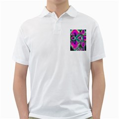 Crystal Flower Garden, Abstract Teal Violet Men s Polo Shirt (white)